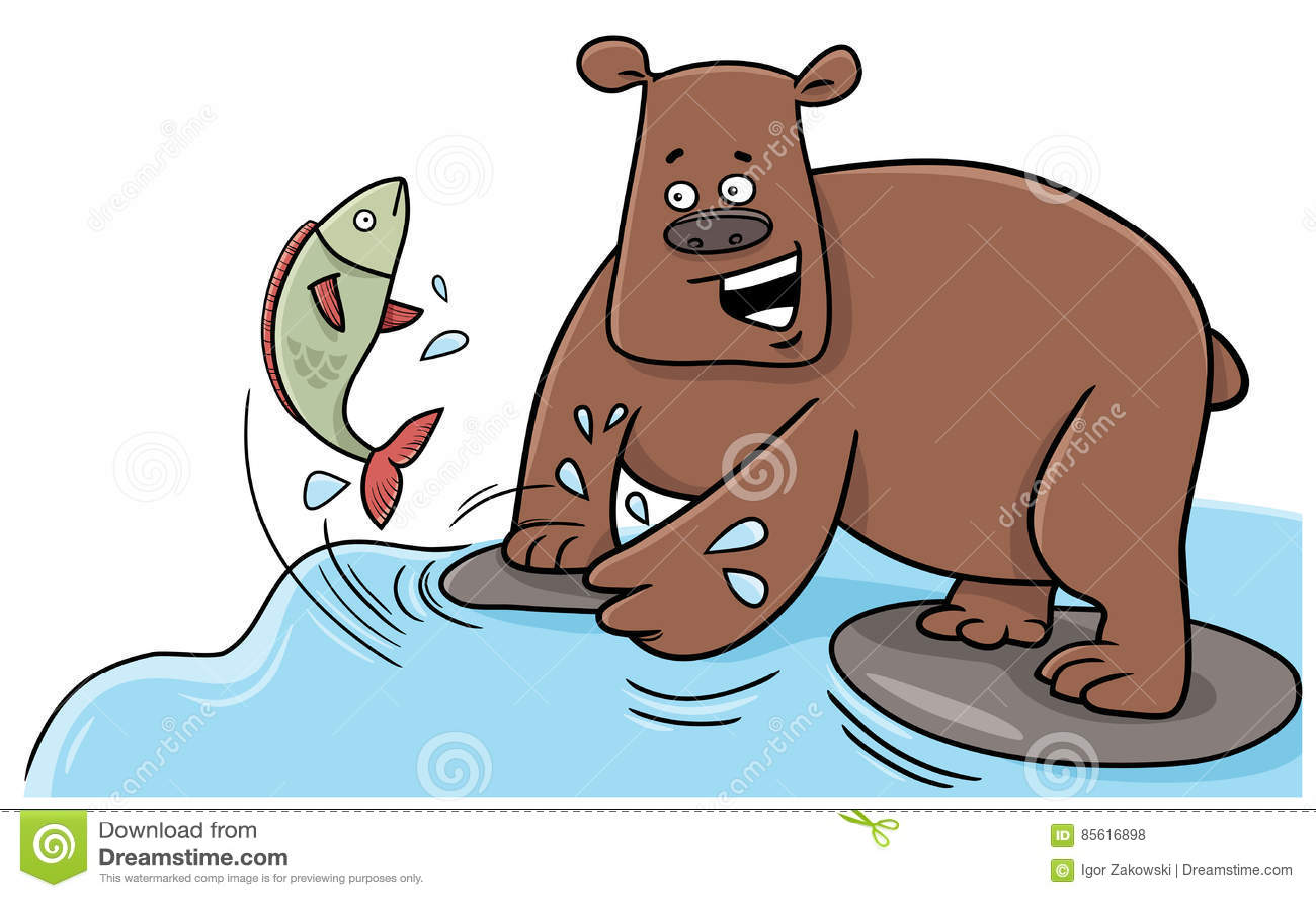 Fishing Bear Cartoon Character Stock Vector Illustration Of