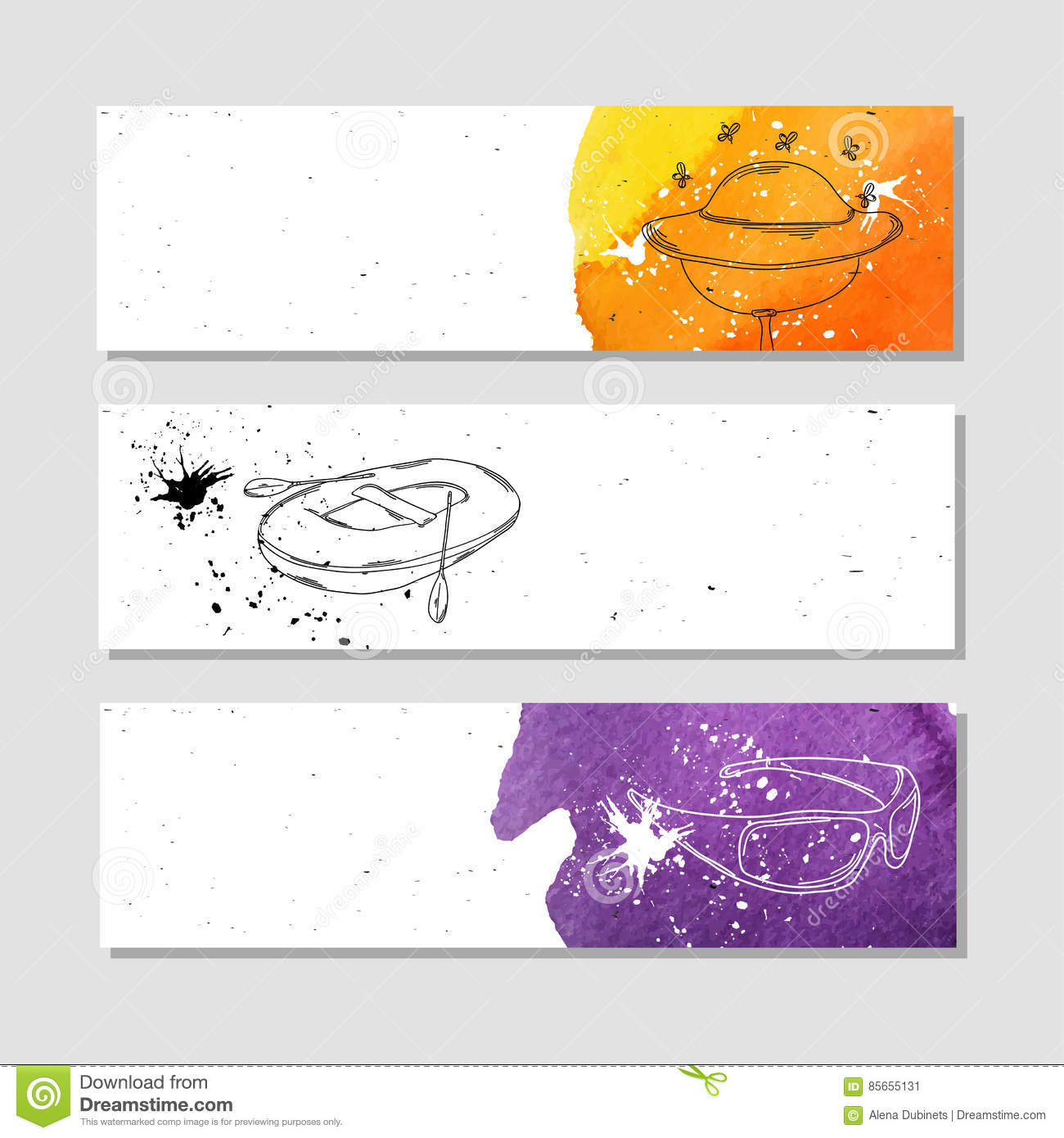 fishing and beekeeping set of white paper banner templates