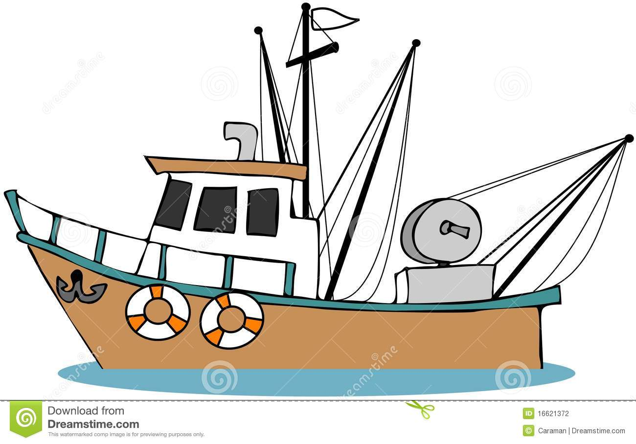 Fishing Boat Stock Illustration. Illustration Of Cartoon