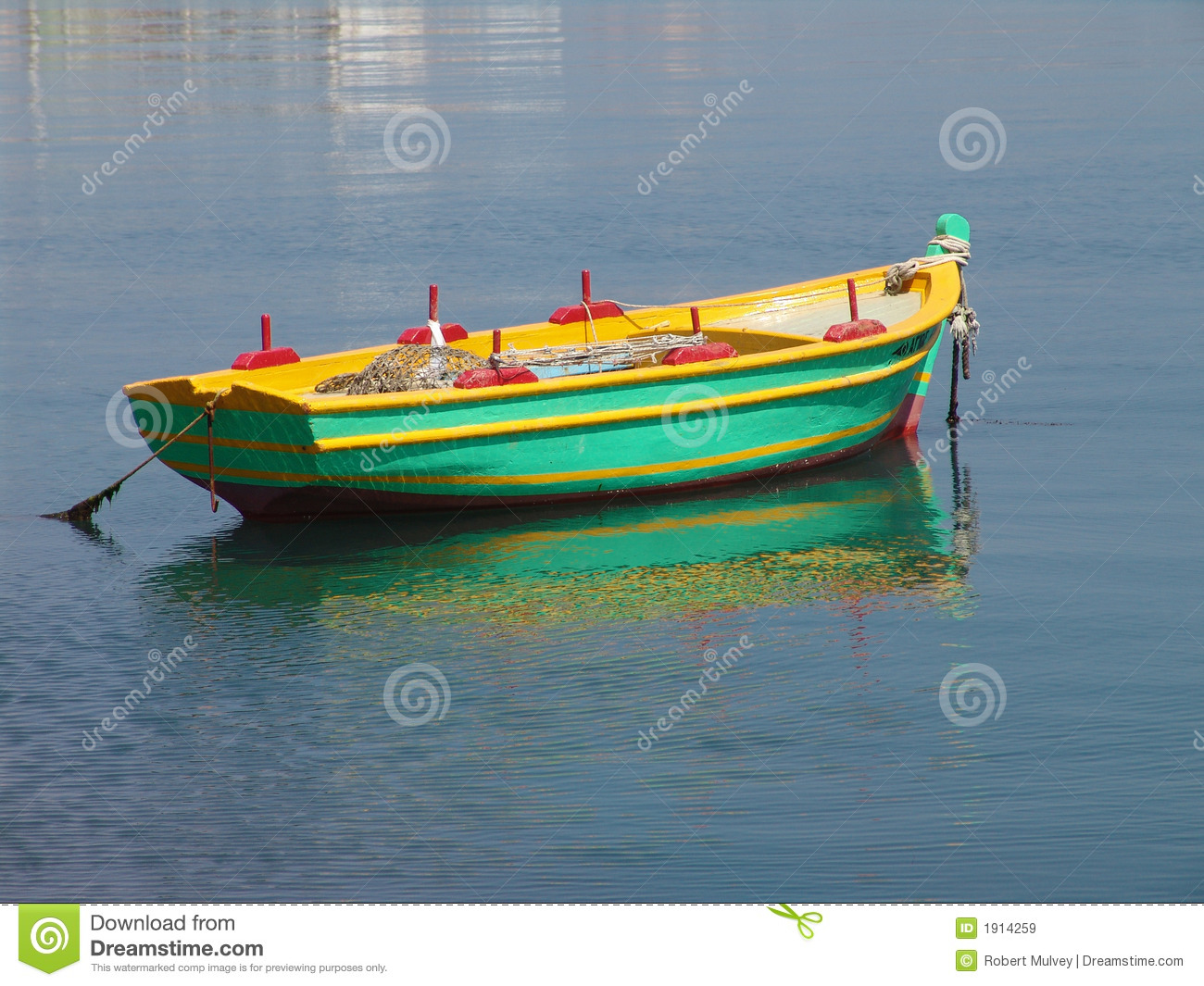 fishing boat at anchor stock image image of green boat