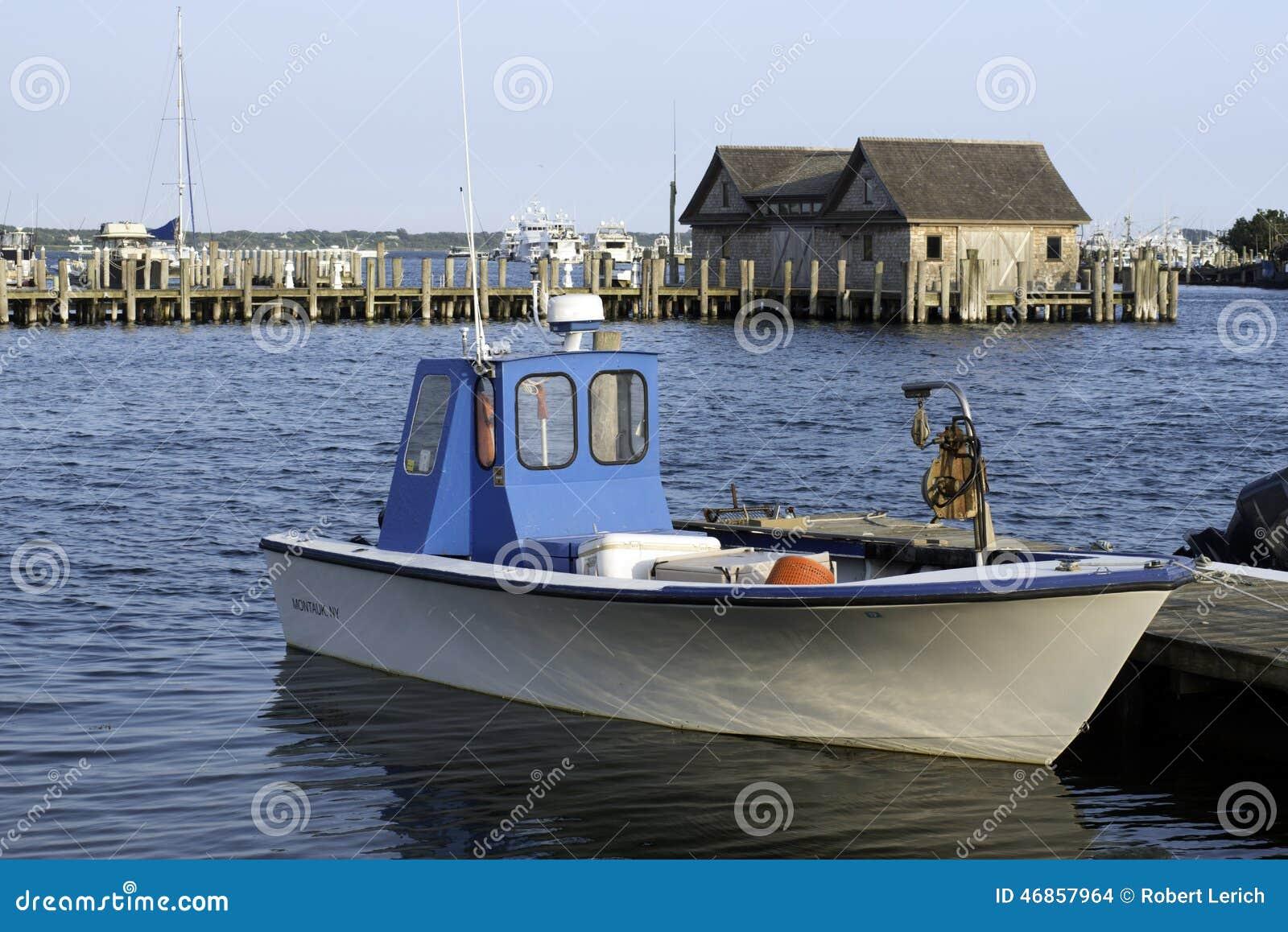Fishing boat in bay harbor marina montauk new york usa the for Fishing boats nyc