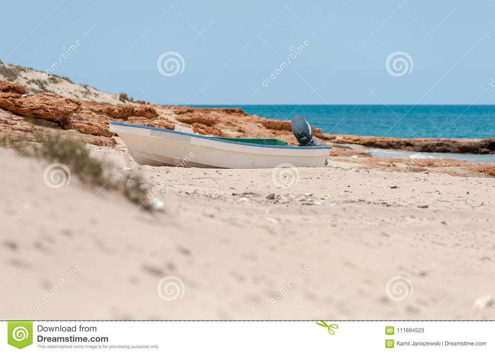 Fishing Boat At Beach  Omani Gulf, Arabic Sea, Oman, Asia