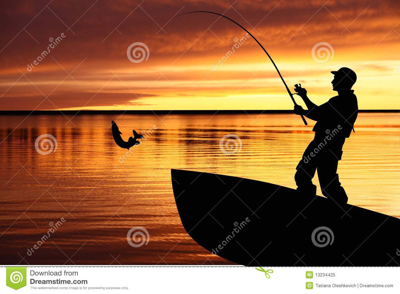Fishing Boat And Fisherman With Catching Pike Royalty Free Stock Photo ...
