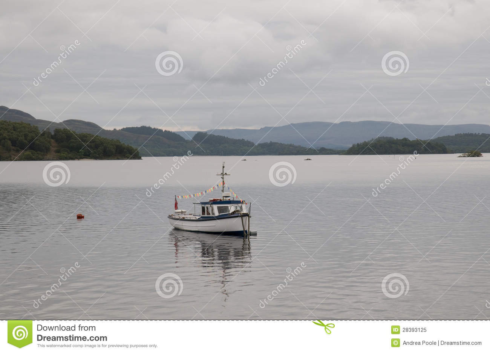 Fishing boat on loch lomond royalty free stock photo for Loch lomond fishing