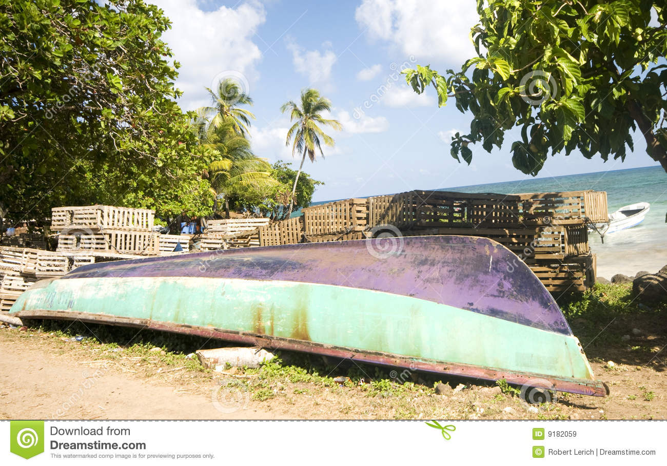 Fishing Boat Panga Lobster Traps Nicaragua Royalty Free Stock Images - Image: 9182059