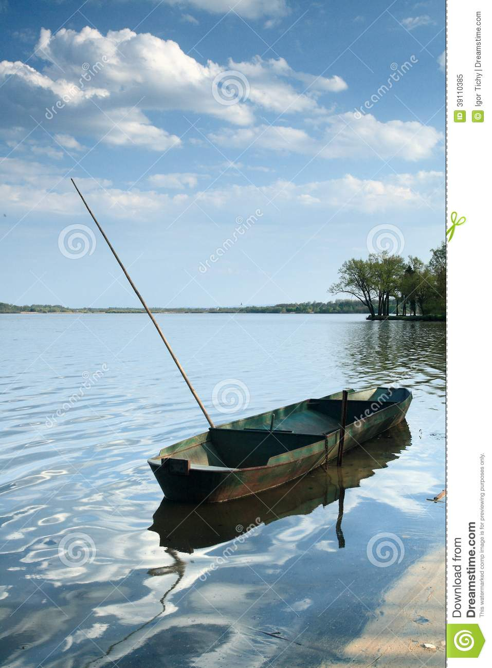 Fishing boat on the pond rozmberk stock photo image for Pond fishing boats