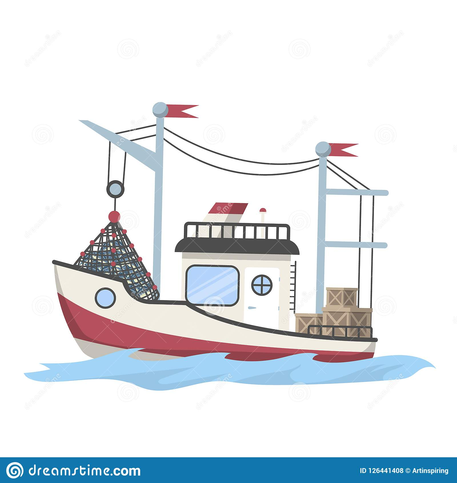 Fishing boat or ship full of fish
