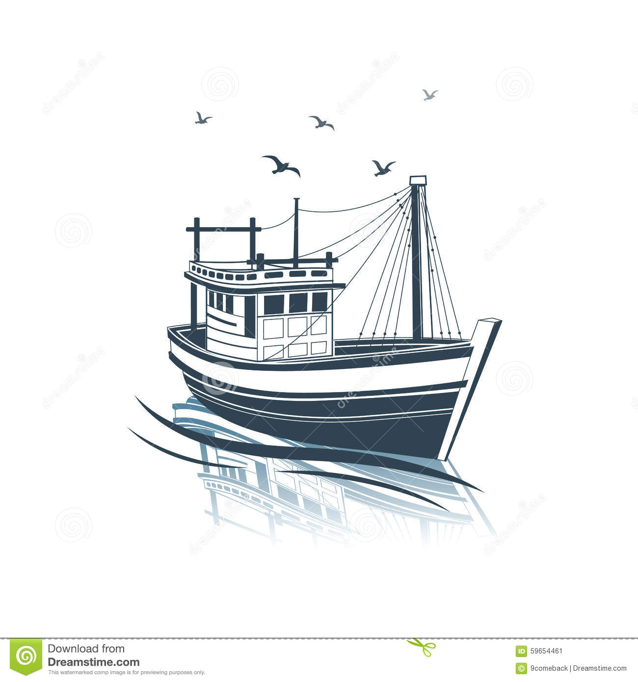 Fishing Boat Stock Vector - Image: 59654461