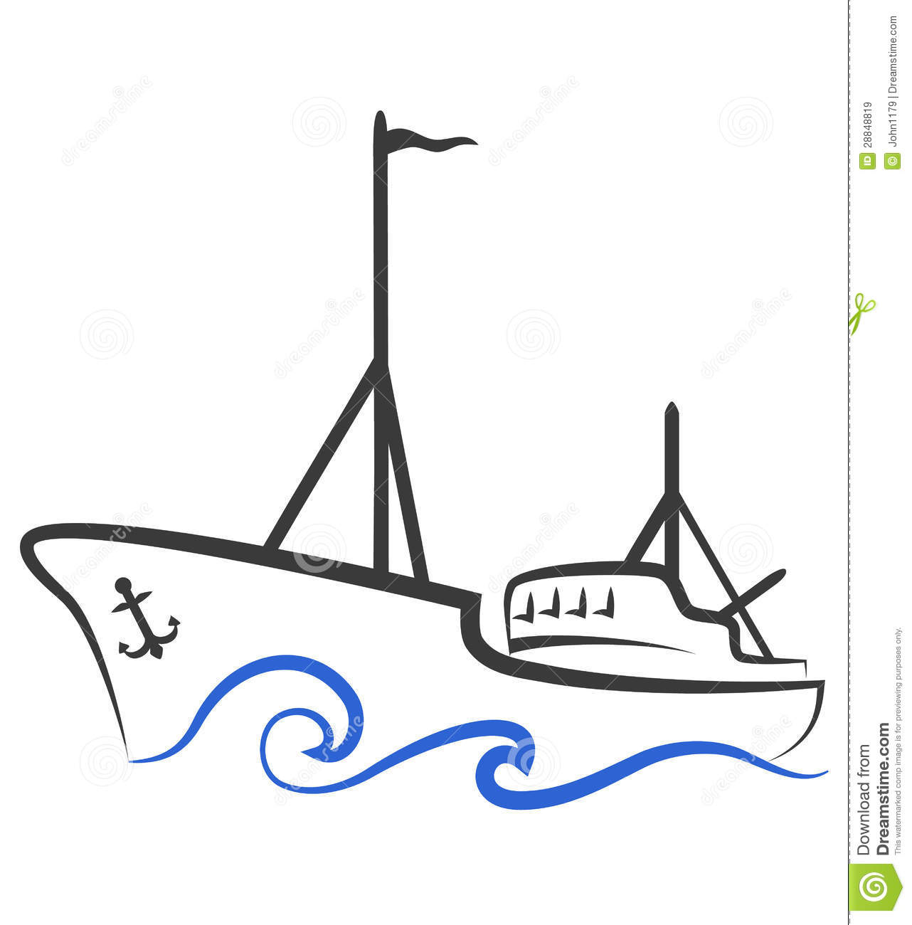 Fishing Boat Silhouette Royalty Free Stock Images - Image: 28848819