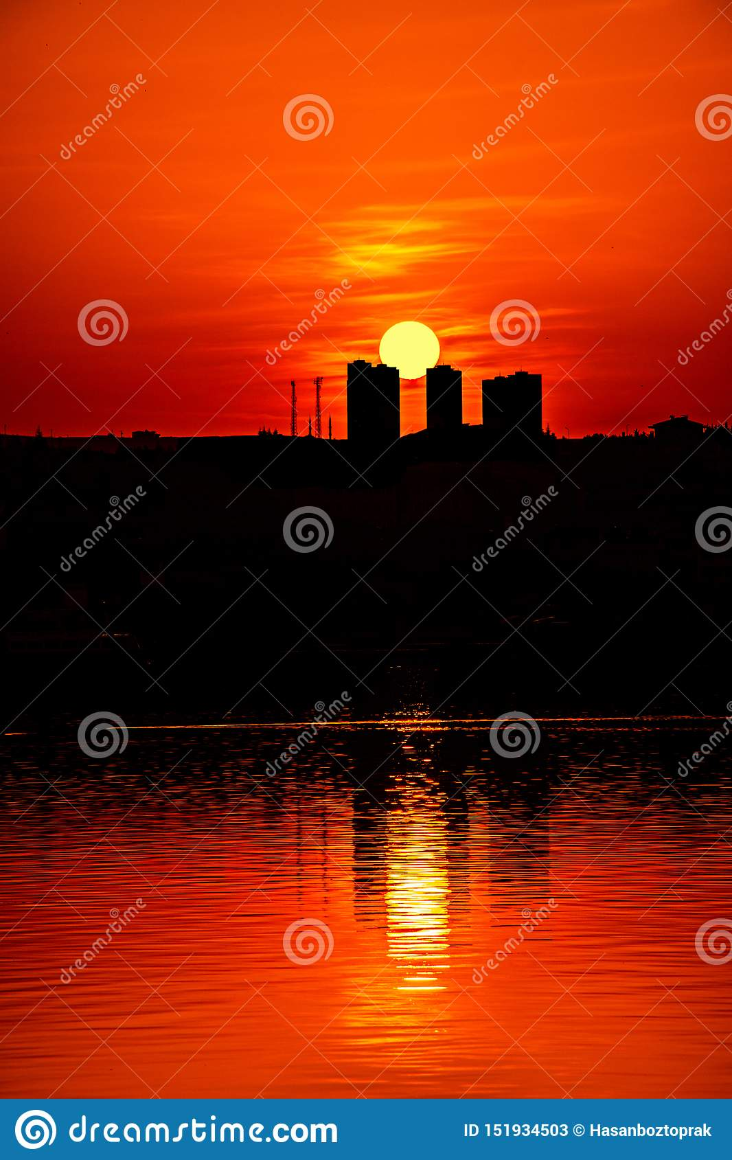 Fishing Boat and Sunset in Ankara Turkey