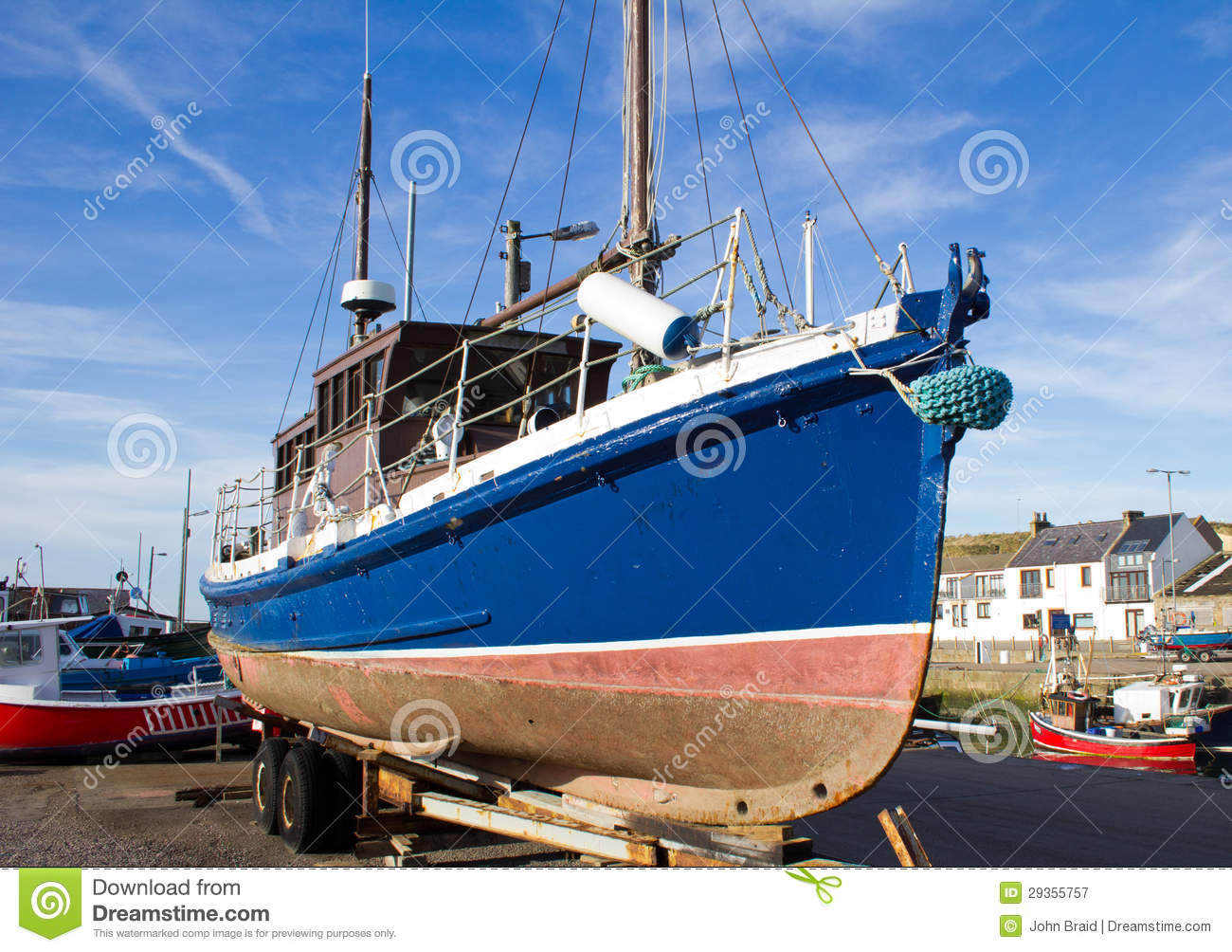 Fishing boat on trailer stock image. Image of parked - 29355757