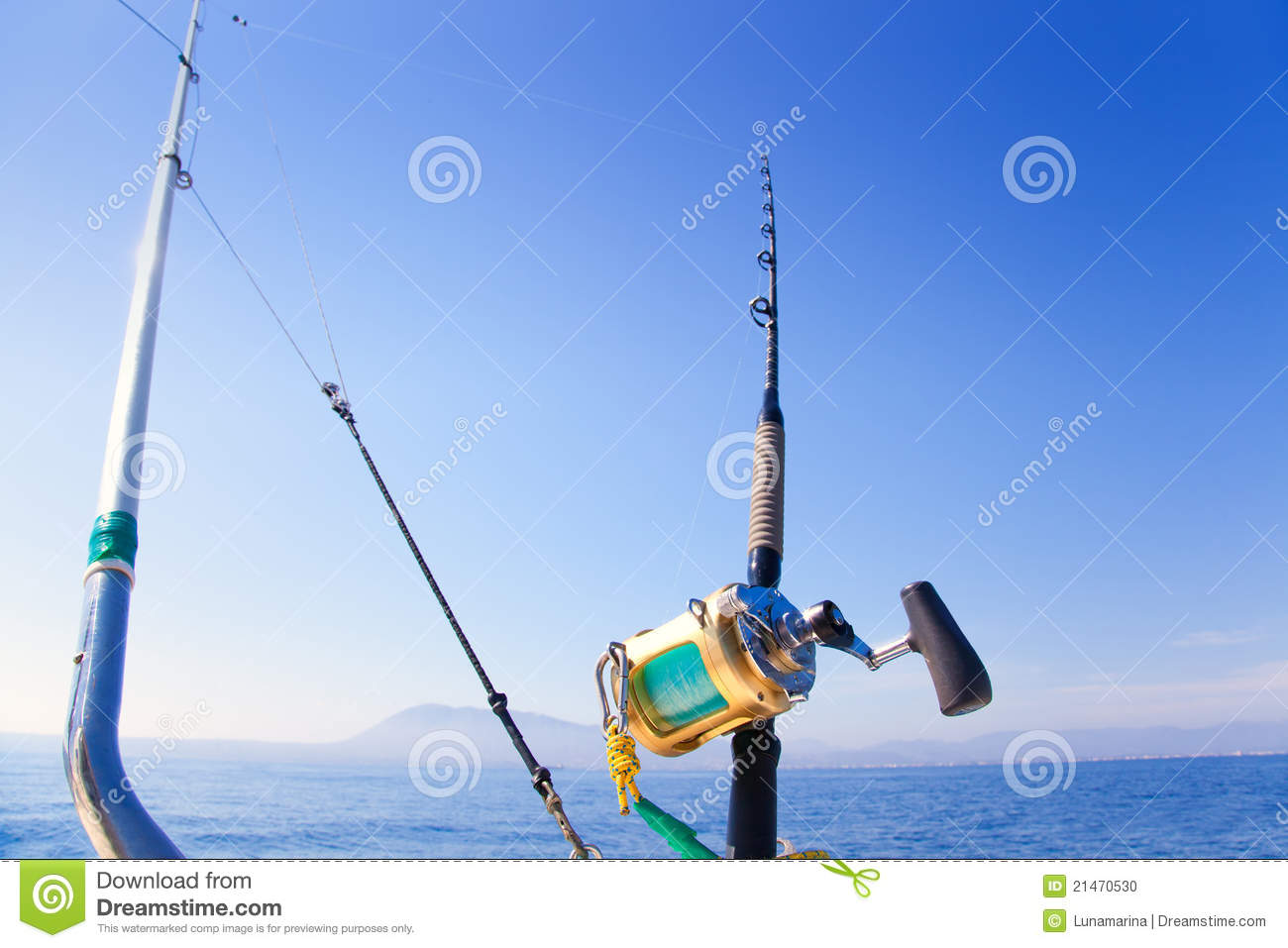 Fishing Boat Trolling With Outrigger Gear Stock Photo - Image: 21470530