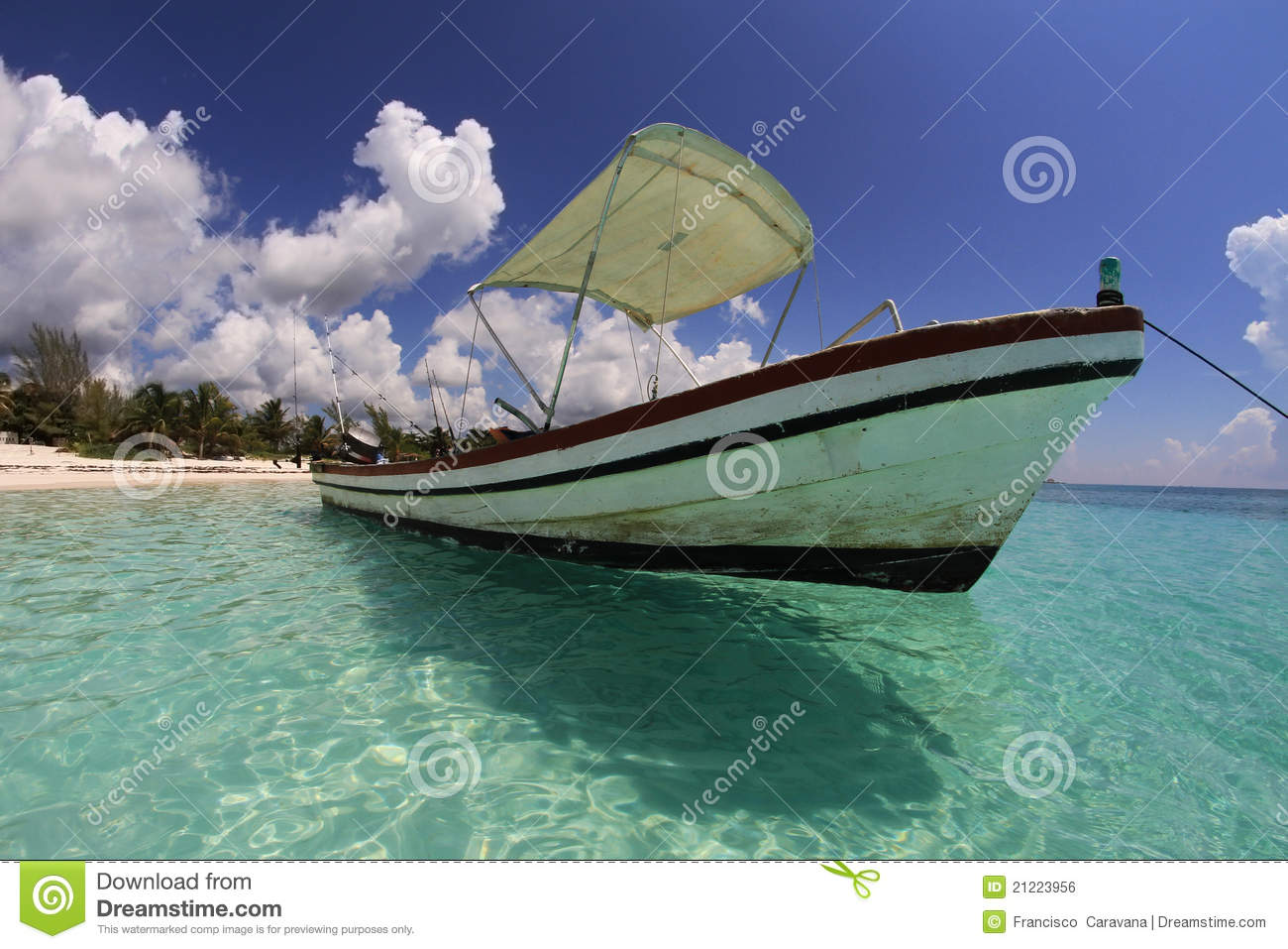 fishing boat on tropical caribbean beach royalty free stock image