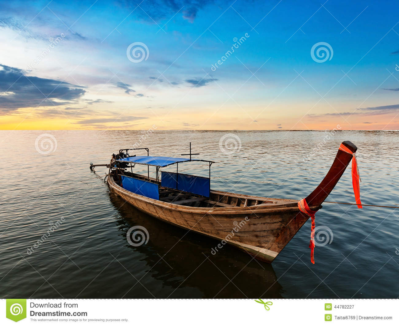 Fishing boat on twilight time in Thailand Asia.