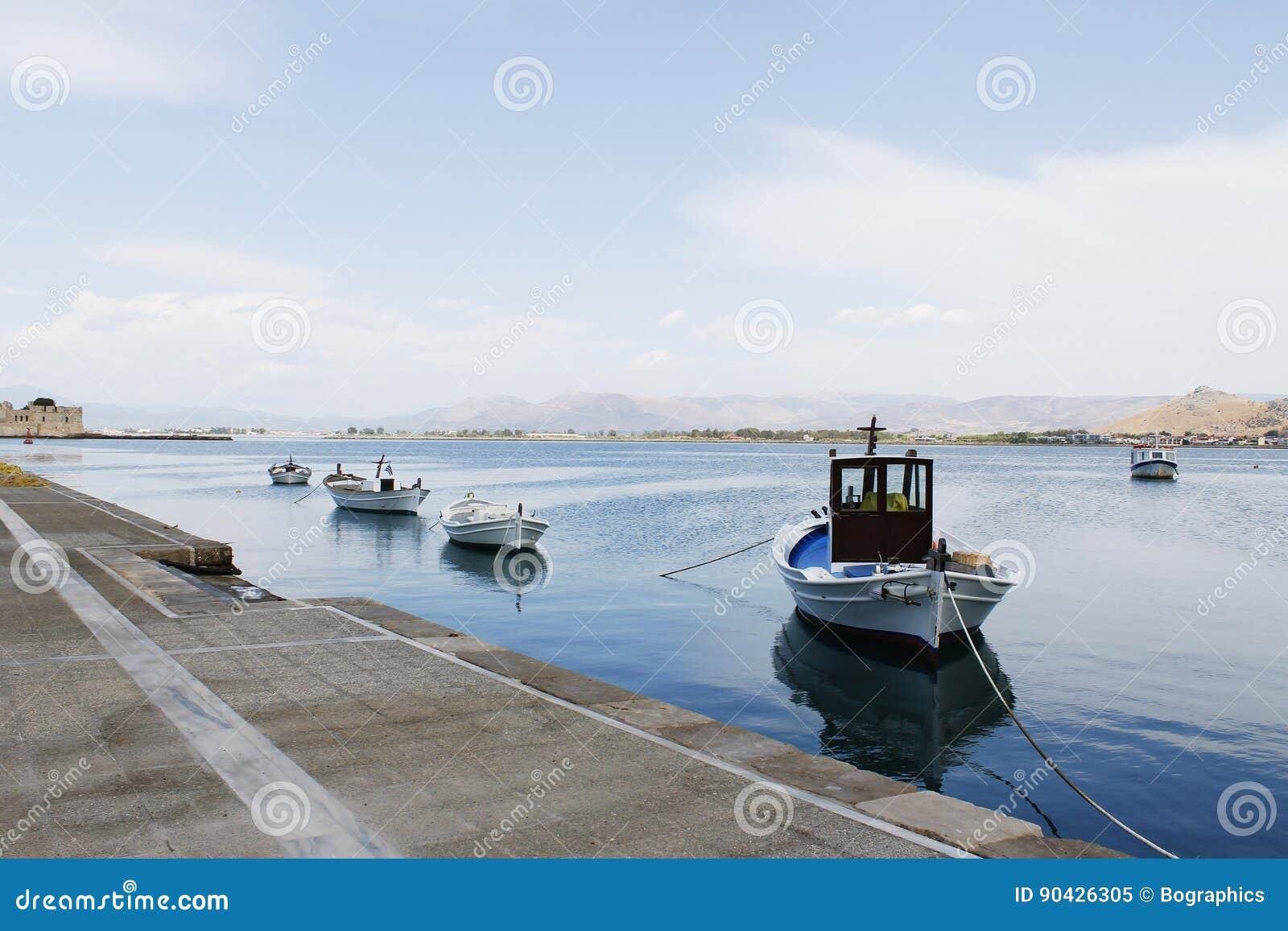 Fishing boats anchored at the dock