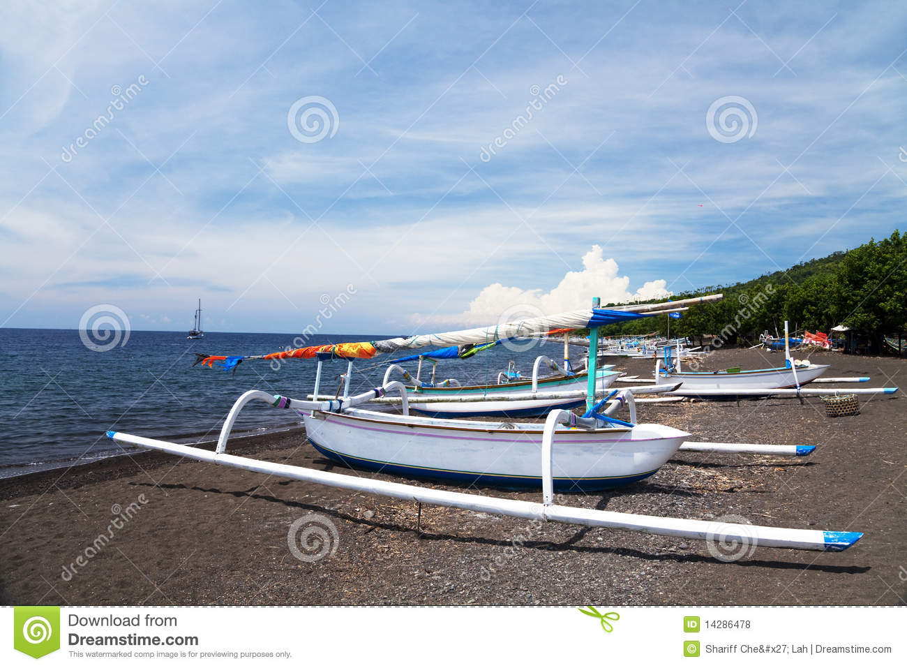 Fishing Boats On Beach, Amed, Bali, Indonesia Stock Photo - Image: 14286478