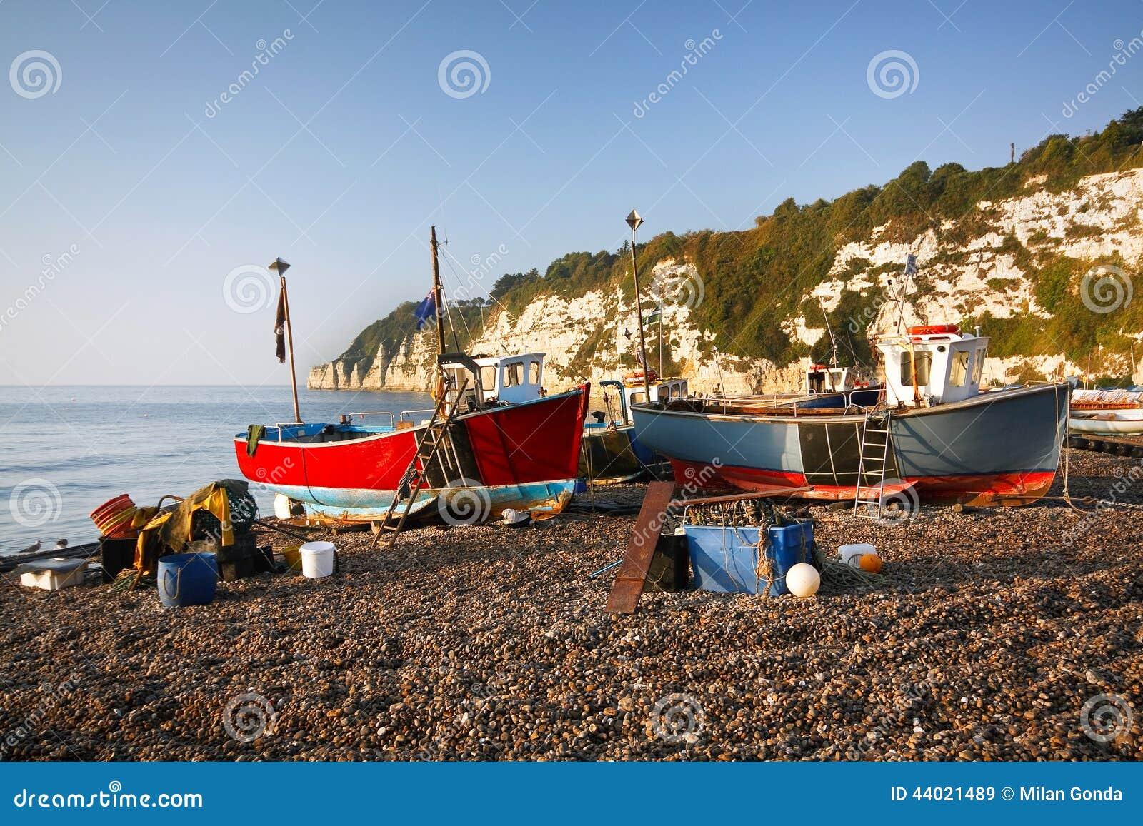 Fishing boats dorset uk stock photo image 44021489 for Fishing spots near me no boat