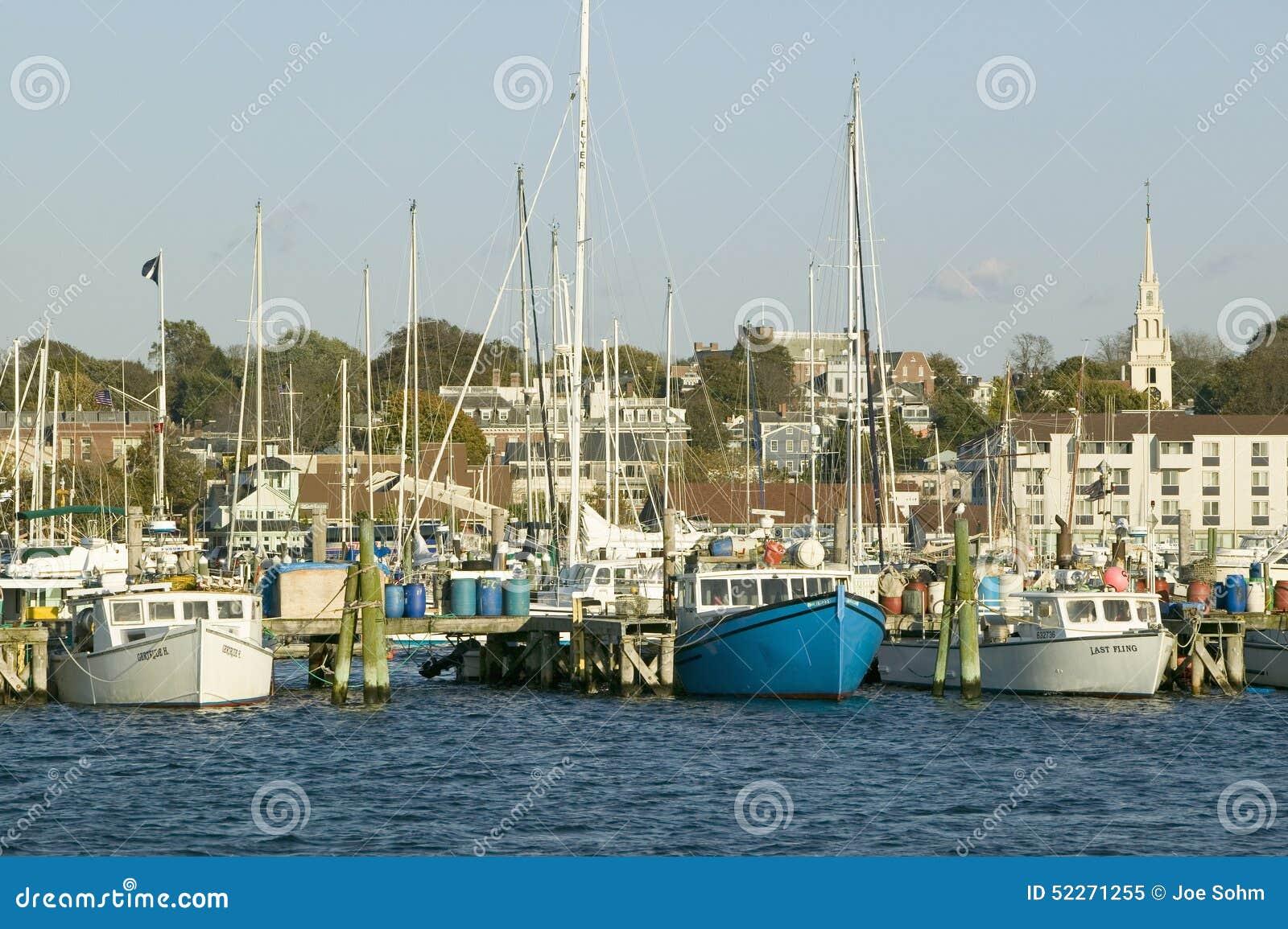Fishing boats in harbor at newport rhode island editorial for Fishing newport ri