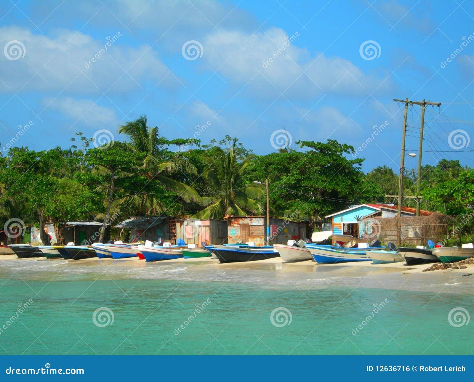 Fishing boats houses corn island nicaragua