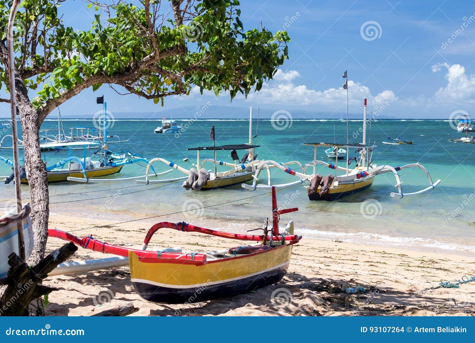 Fishing Boats In The Indian Ocean Tropical Island Bali Indonesia Sanur Beach