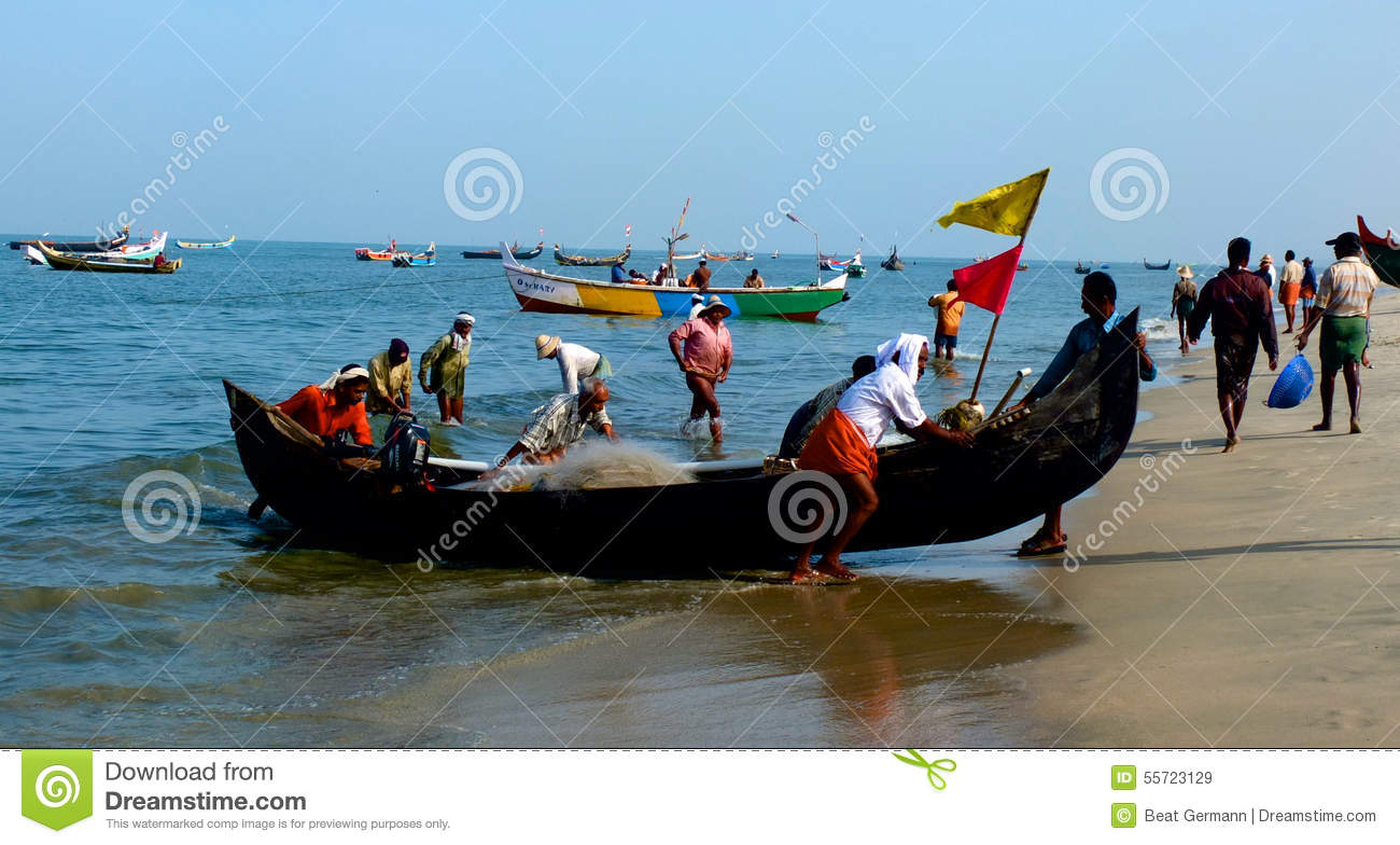 Fishing boats at marari beach kerala india editorial for How much does a fishing boat cost