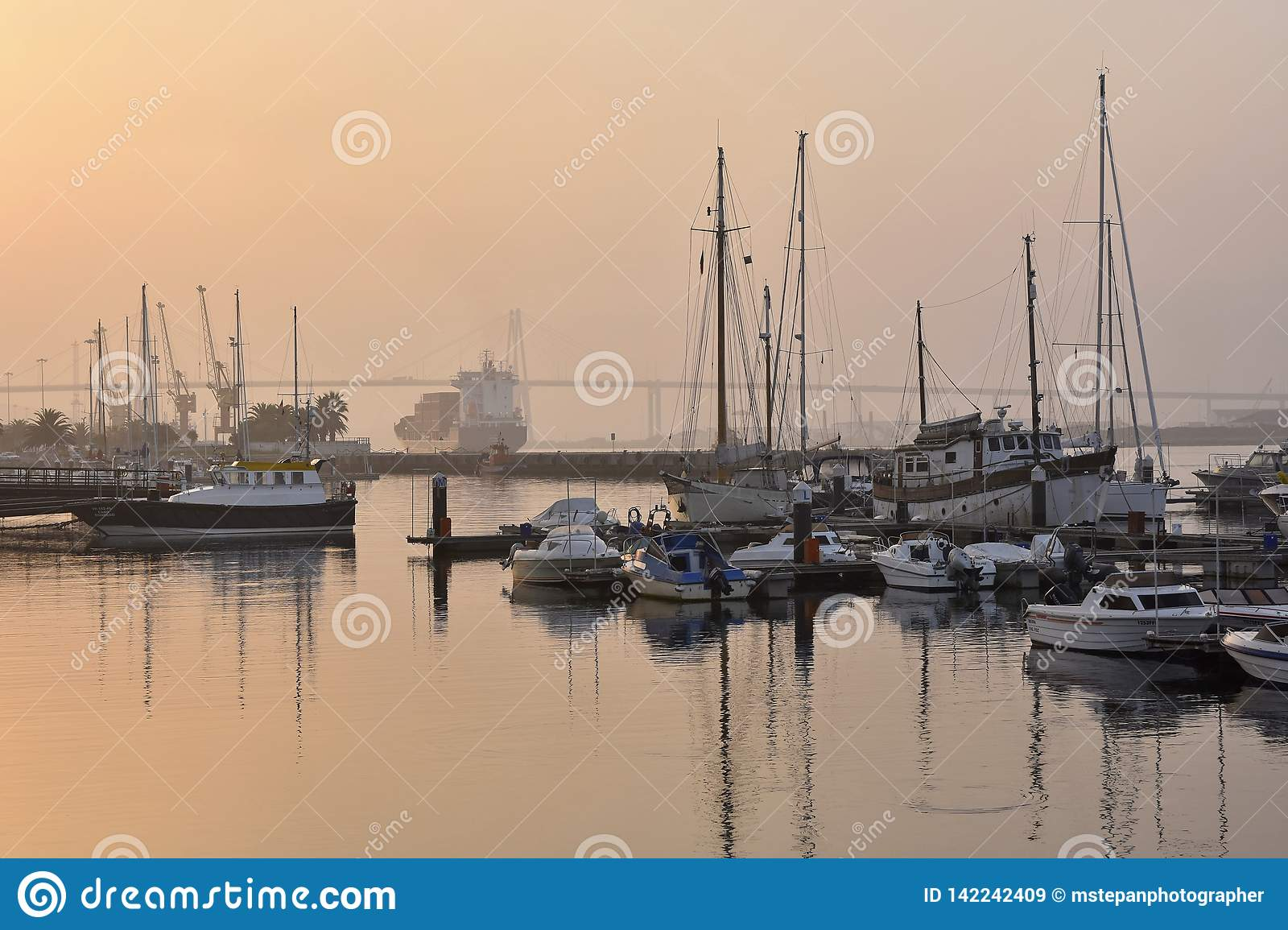 Fishing boats on river Mondego Portugal