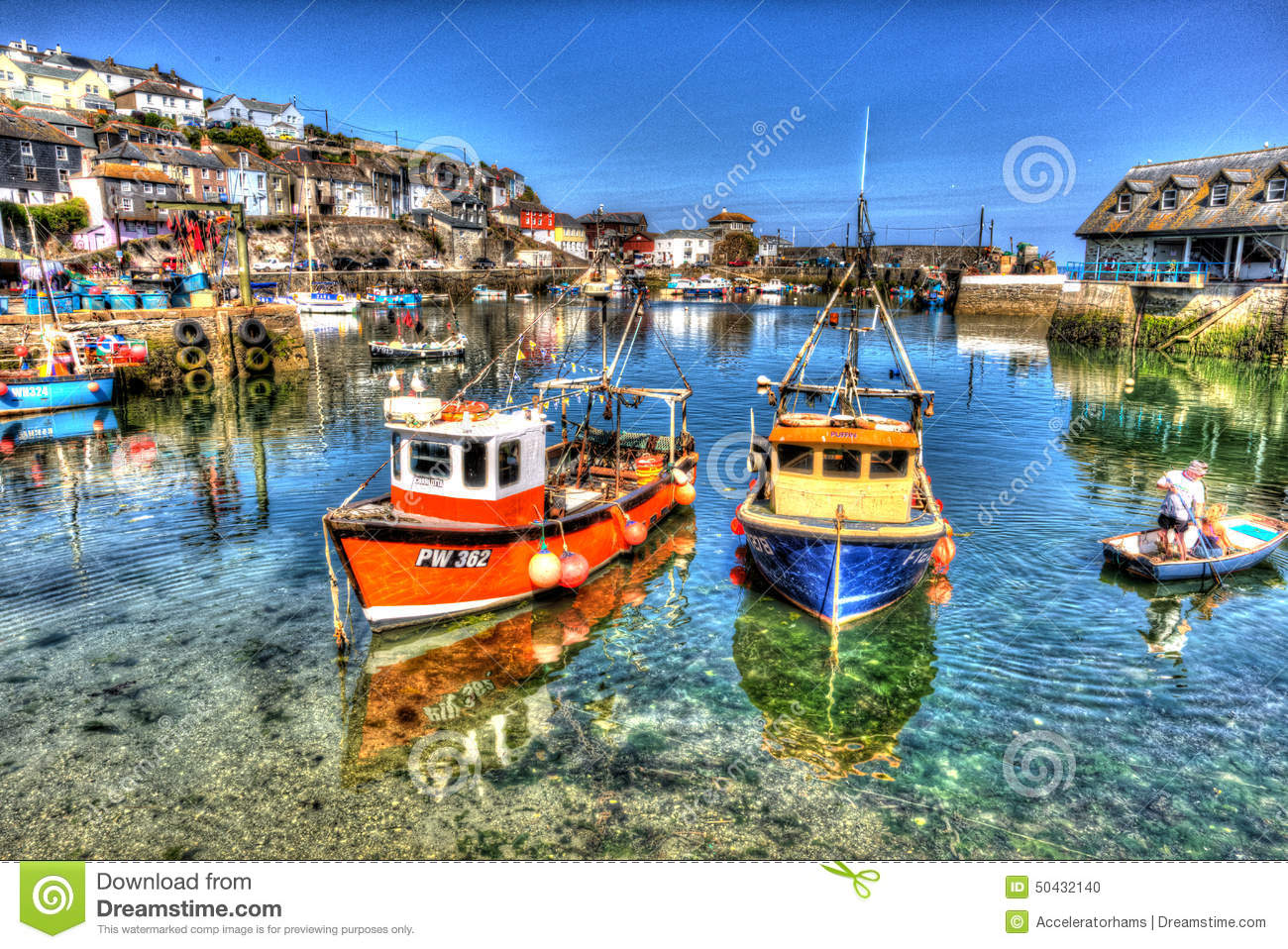 Fishing Boats Mevagissey Harbour Cornwall Uk Clear Blue Sea And Sky In Summer Day In Vibrant And ...