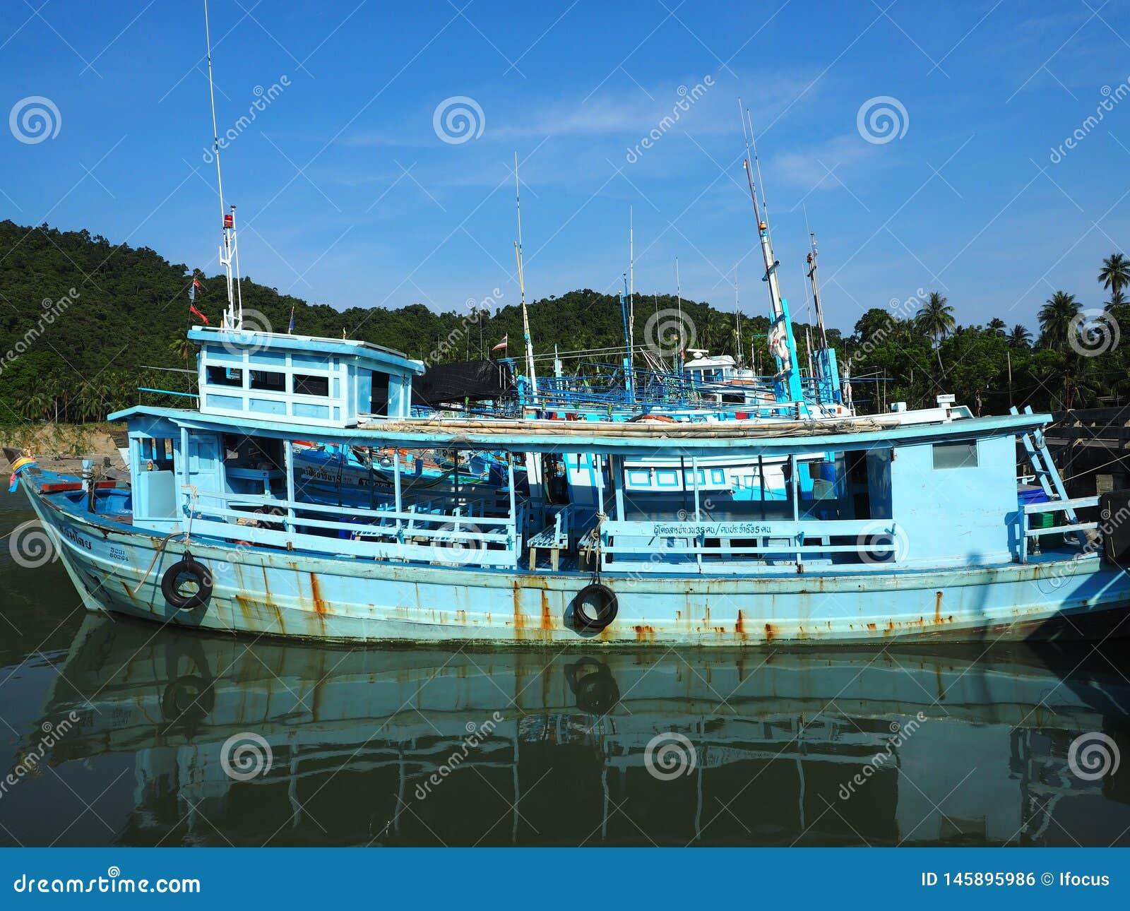 Hua Hin, Thailand: Fishing Boats With Thai Flag Editorial
