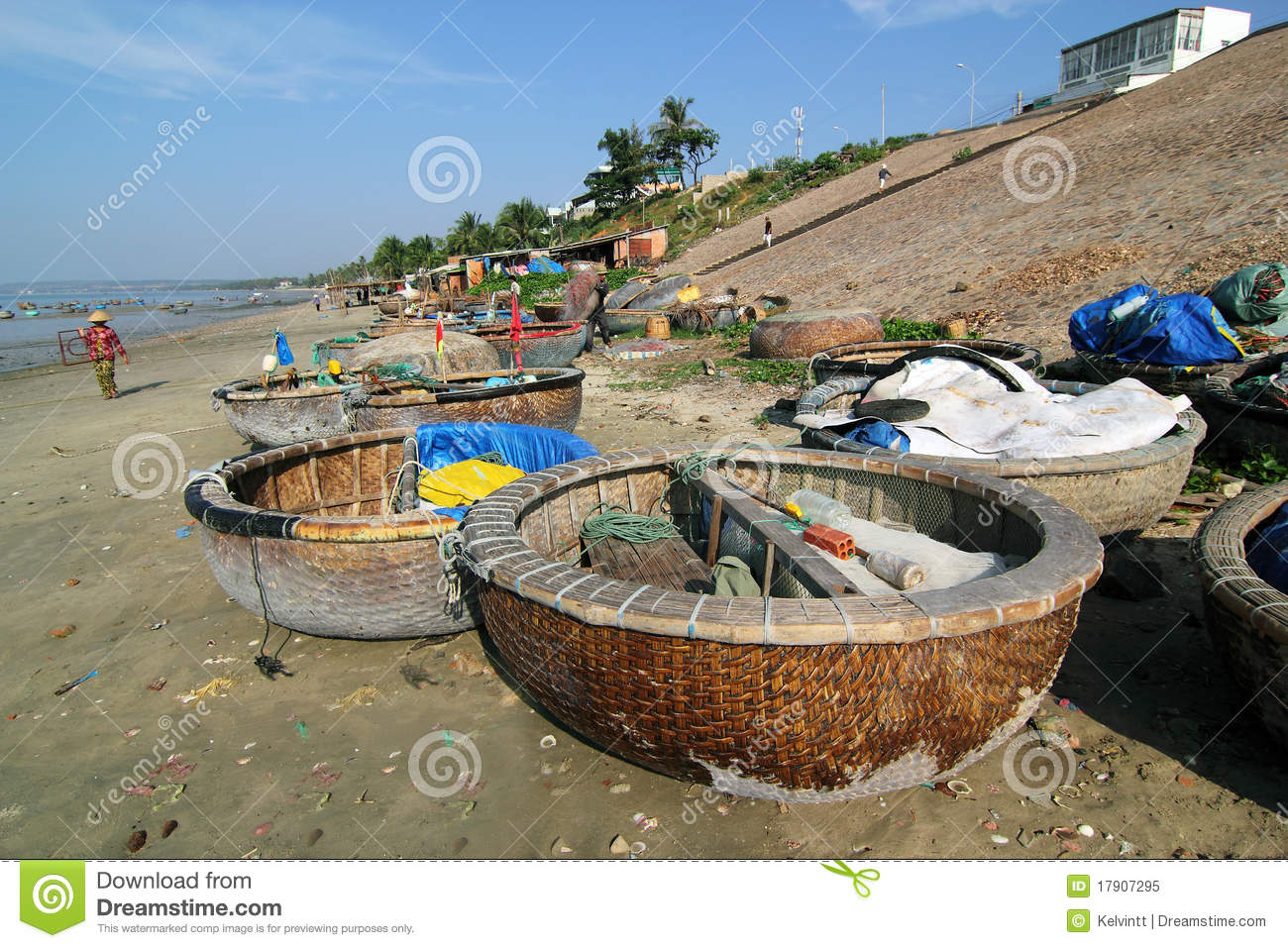 Traditional round fishing boats at fisherman village, Mui Ne, Vietnam.
