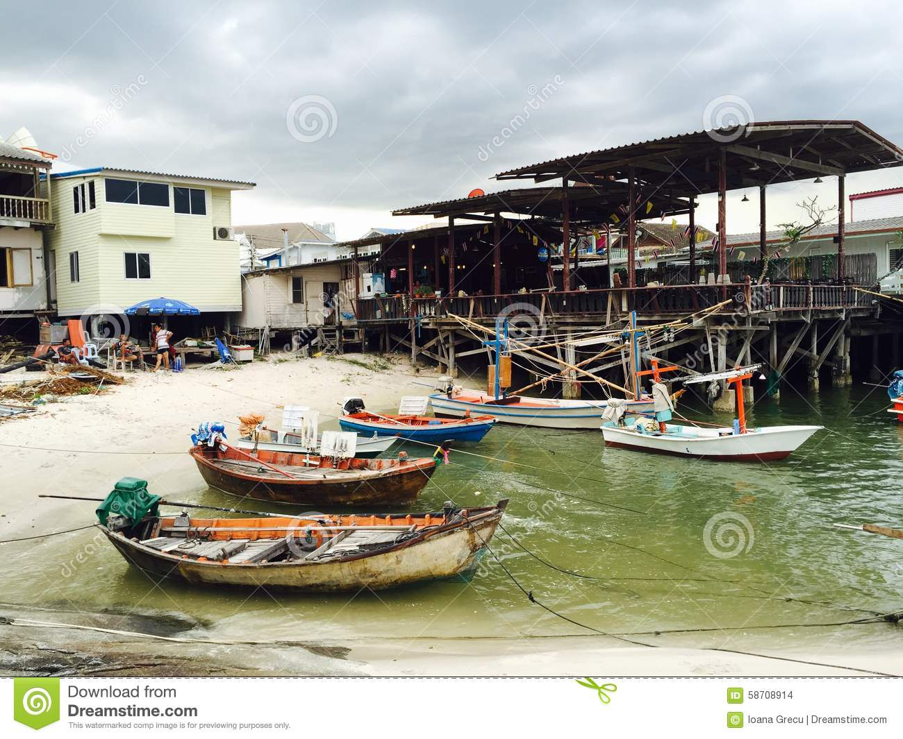 Fishing boats in small Hua Hin harbour