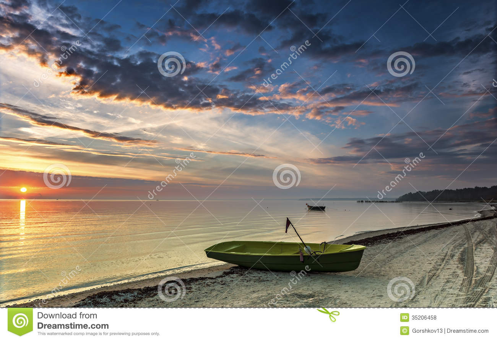 Fishing boats at sunrise,Latvia