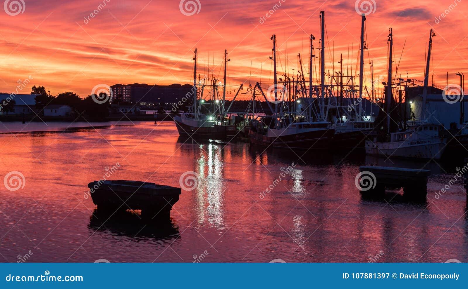 Fishing boats at sunset in Marina