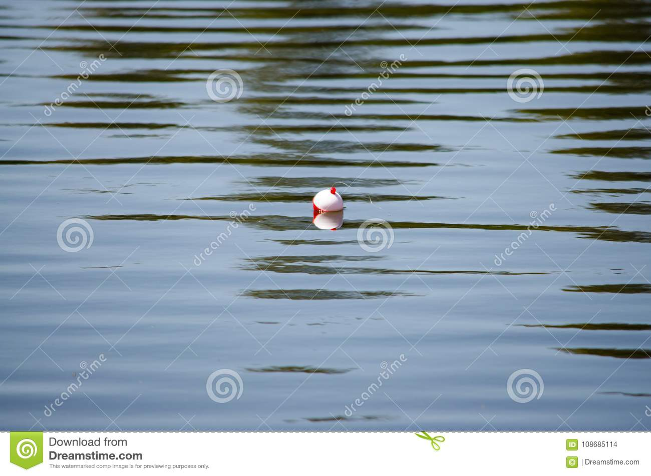 Fishing bobber floating on the water