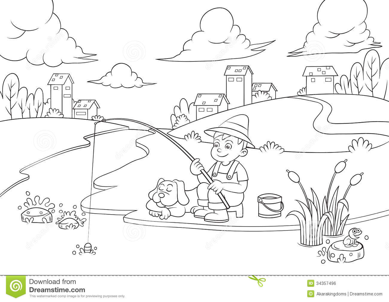Fishing Boy For Coloring Book Stock Vector