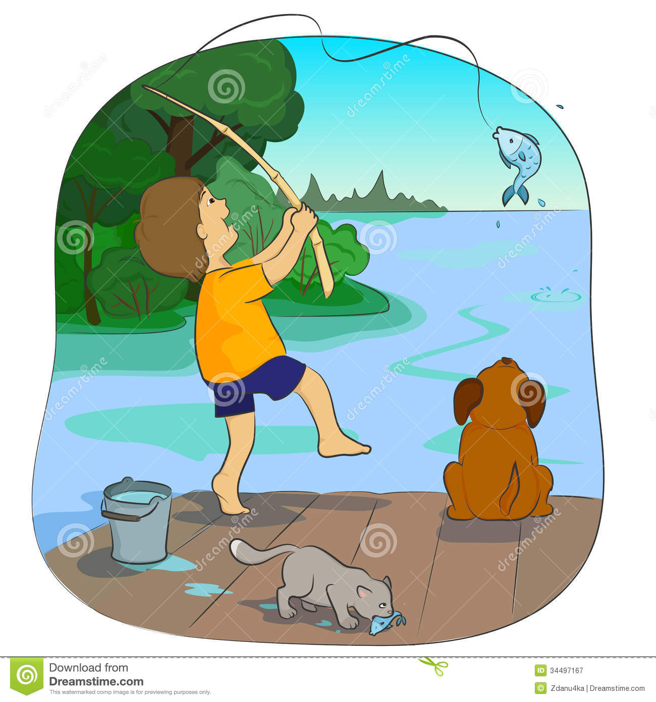 Fishing stock vector illustration of lake landscape for Fishing times free