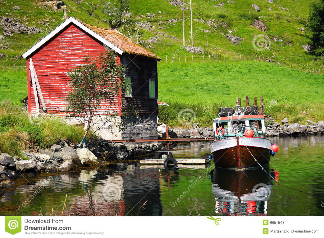 fishing cabin and boat stock photo  image of ocean  moored