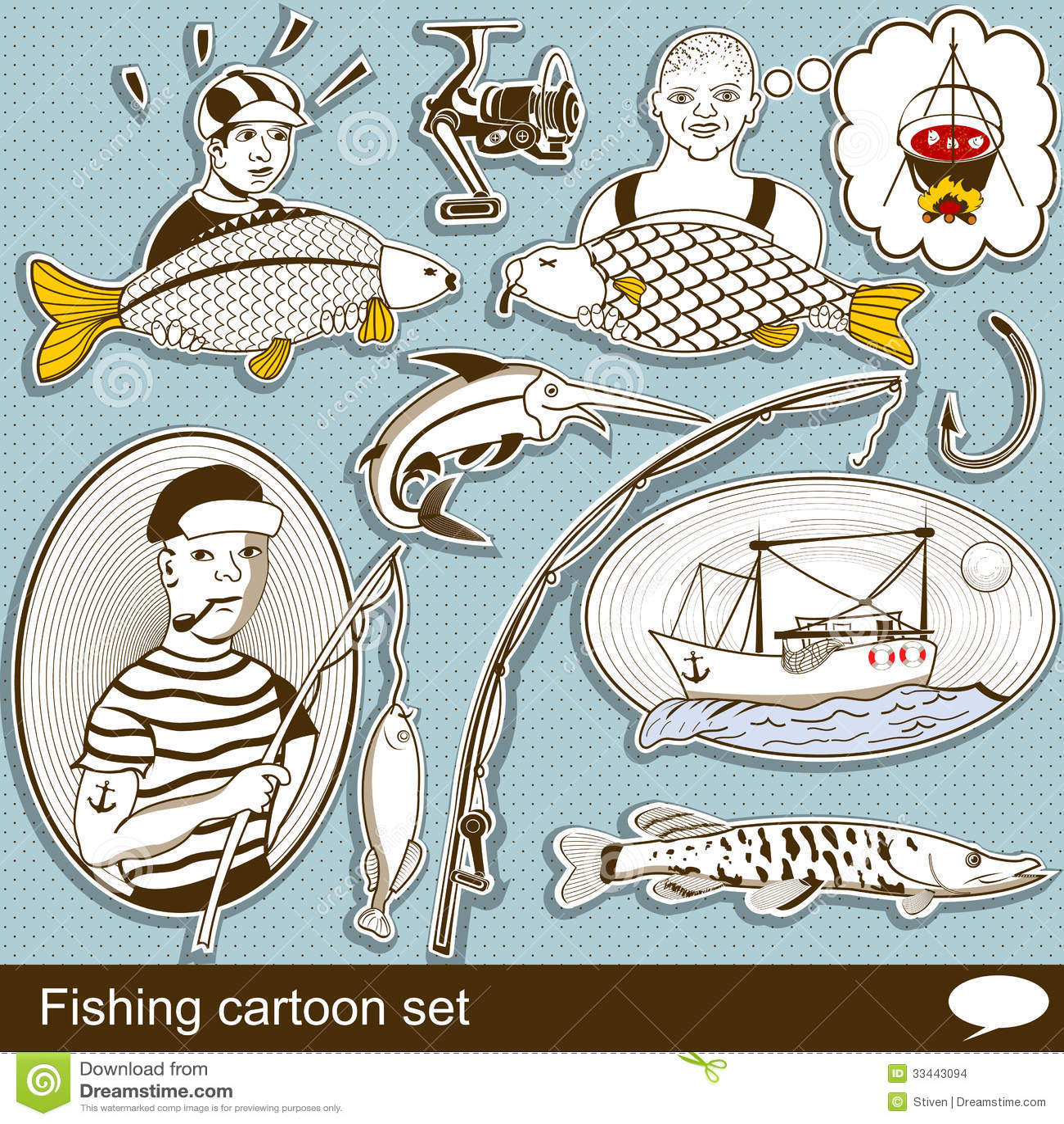 how to draw a cartoon fisherman