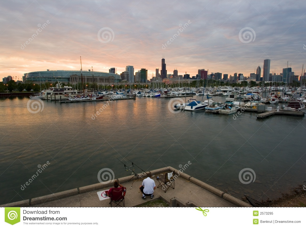 Fishing with chicago view royalty free stock photo image for Fishing in chicago