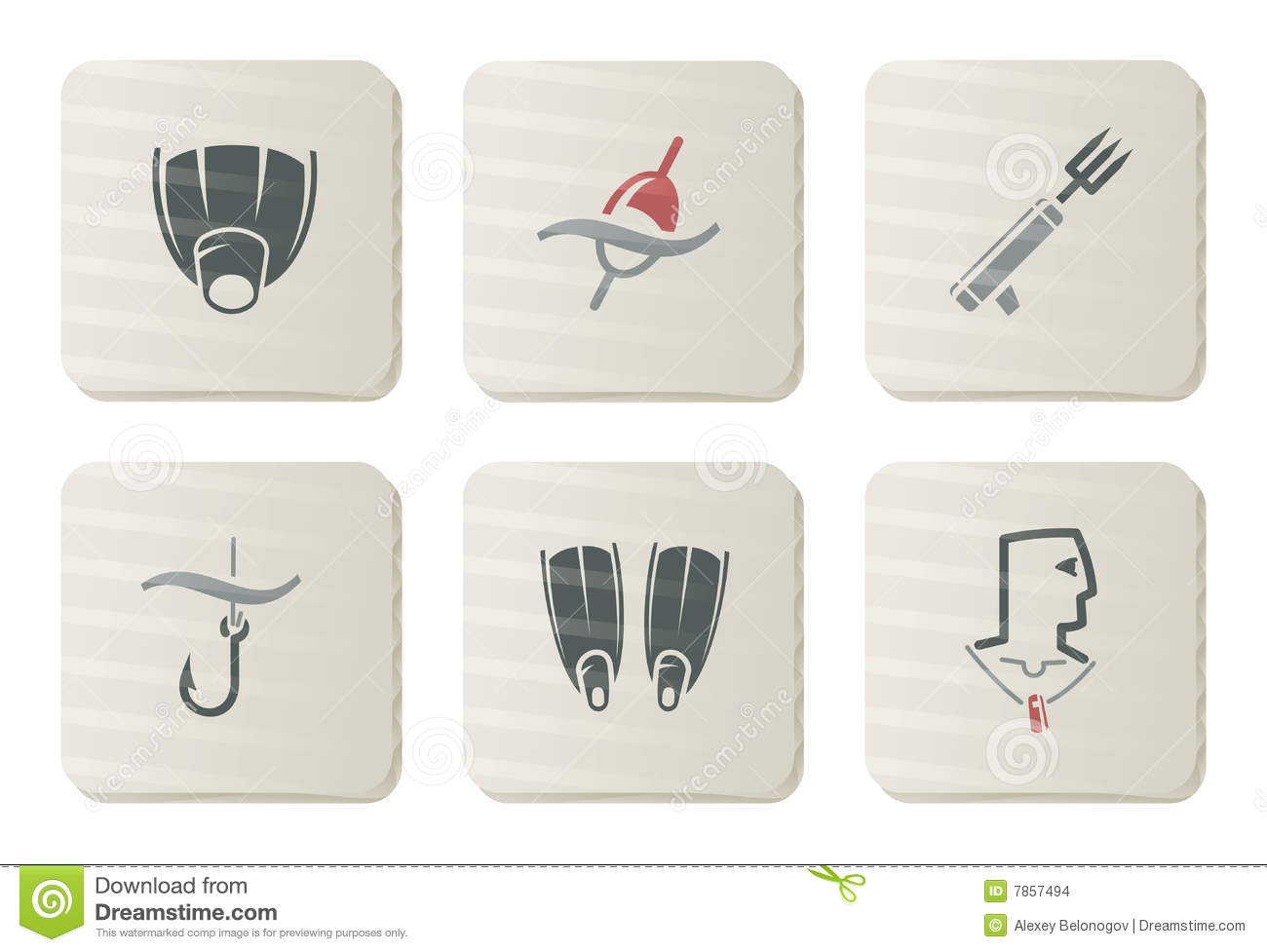 Fishing and Diving icons | Cardboard series