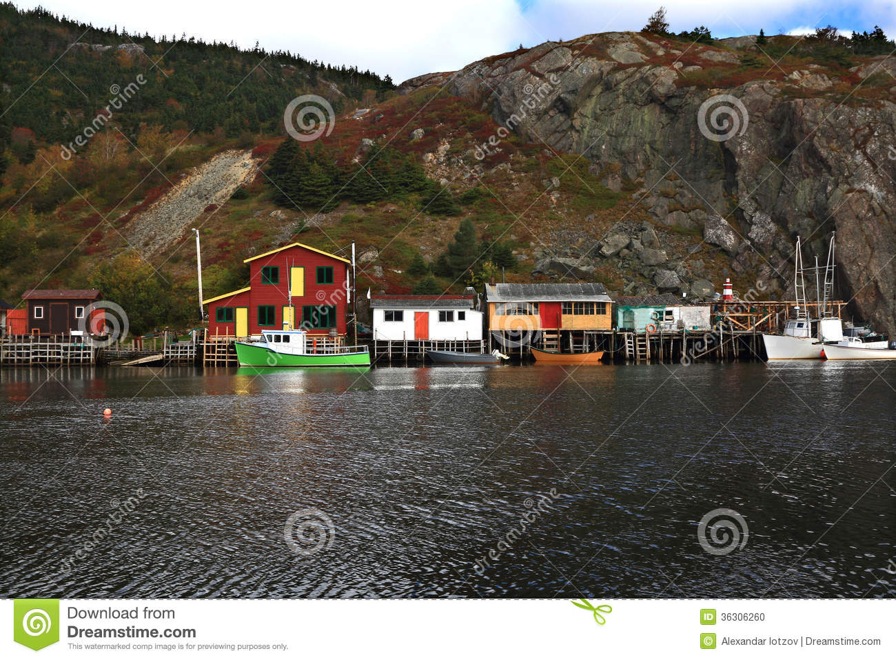 Fishing: Docks, Cabins, Boats On Quidi Vidi Lake Harbor, Newfoundland. Stock Photo - Image: 36306260