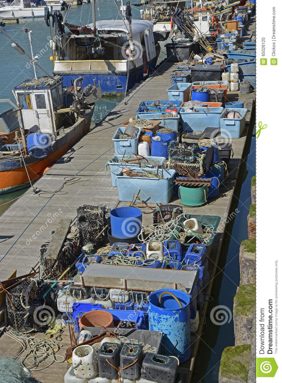 Fishing Tackle On A Pontoon Royalty-Free Stock Photo ...