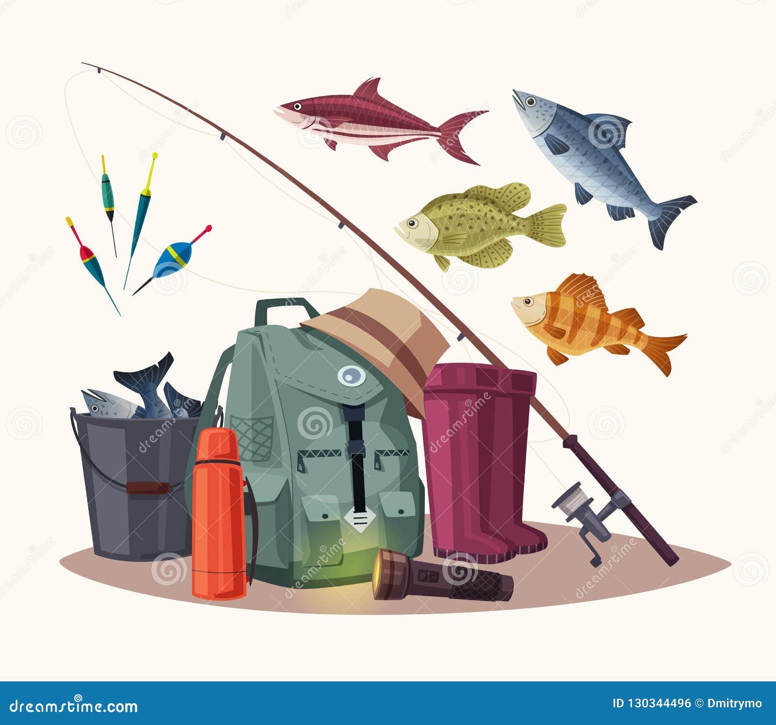 3aa6328f90ae Fishing Equipment. Set Of Icons. Cartoon Vector Illustration Stock ...