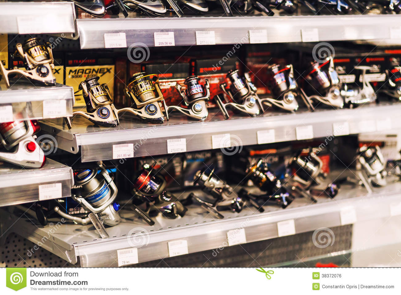 Fishing equipment in shop editorial photo image 38372076 for Fishing equipment stores