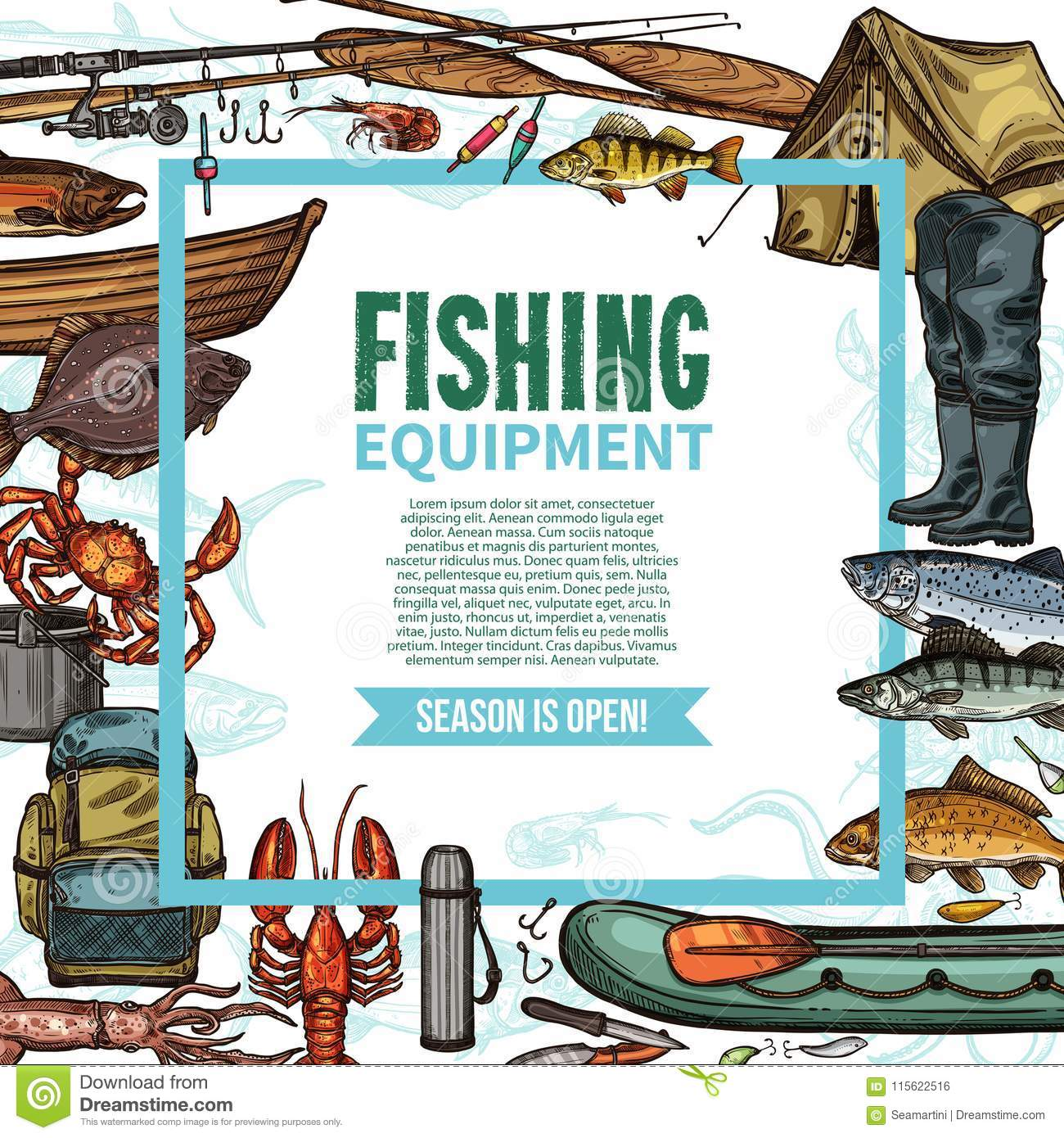 Fishing Equipment Sketch Poster With Fish Catch Stock Vector ...
