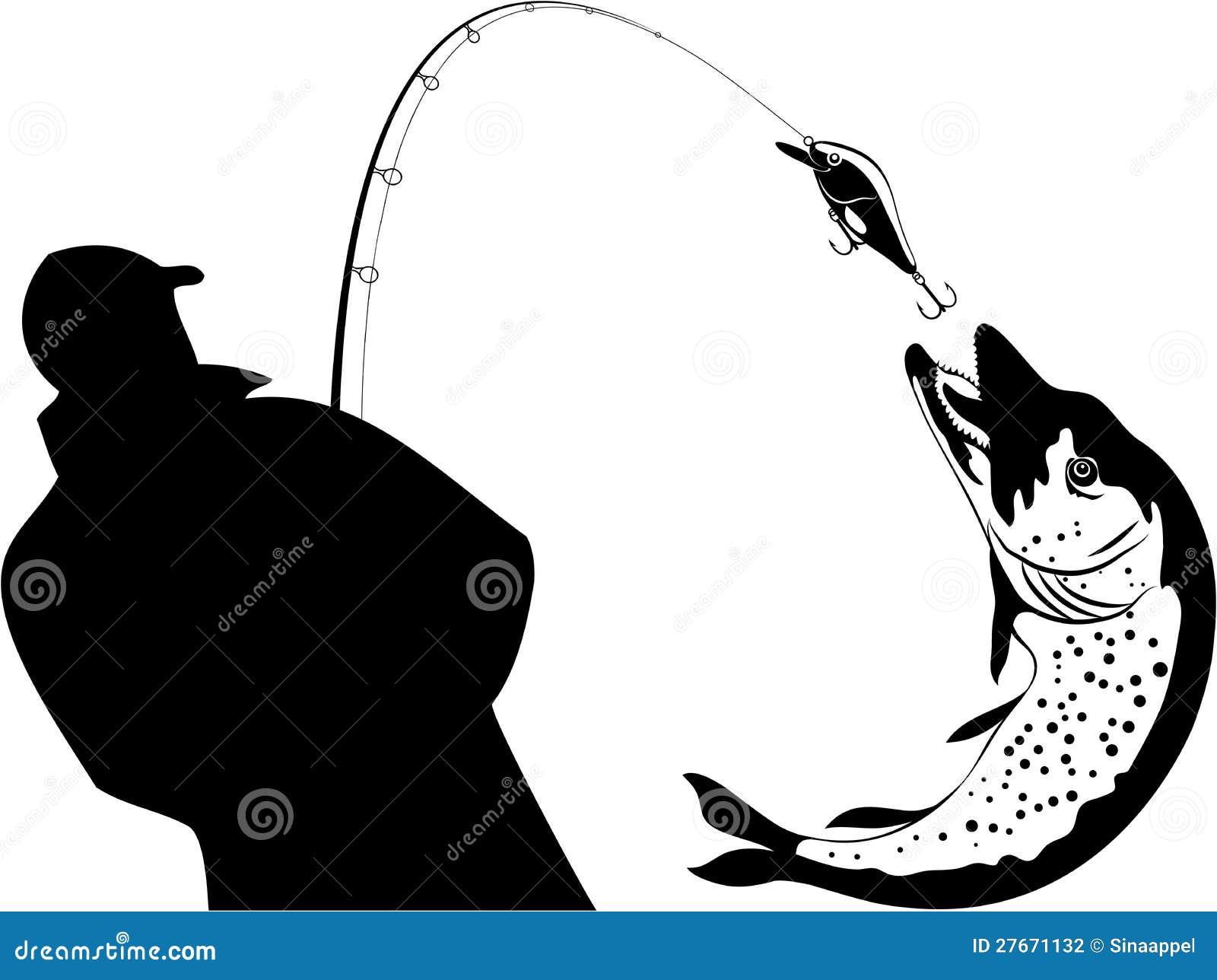 Fishing, Fisherman And Pike, Vector Illustration Stock ...
