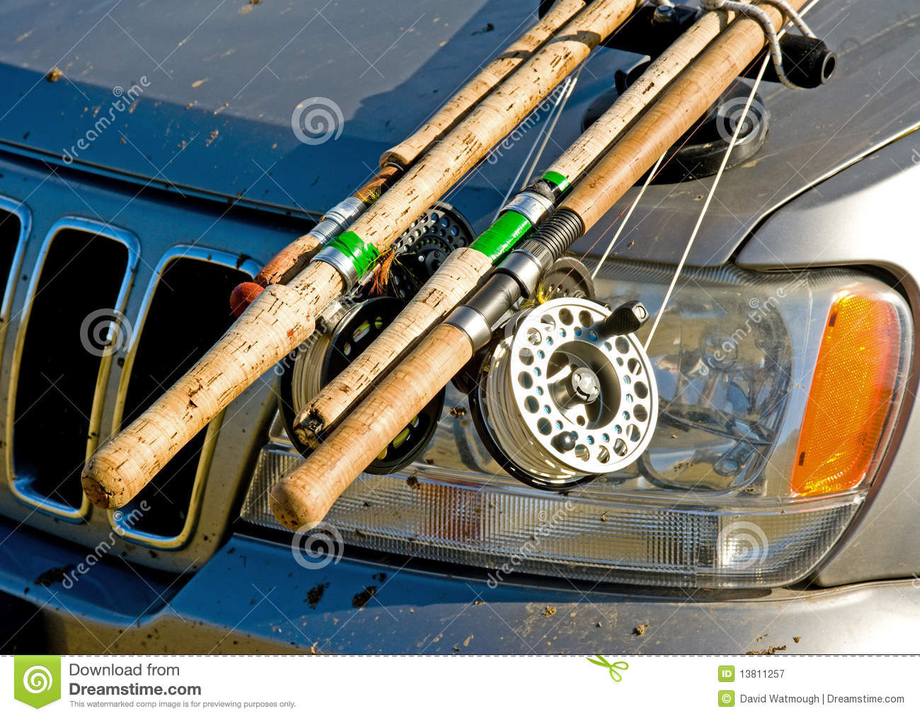 Fishing gear attached to car bonnet royalty free stock for Truck fishing accessories