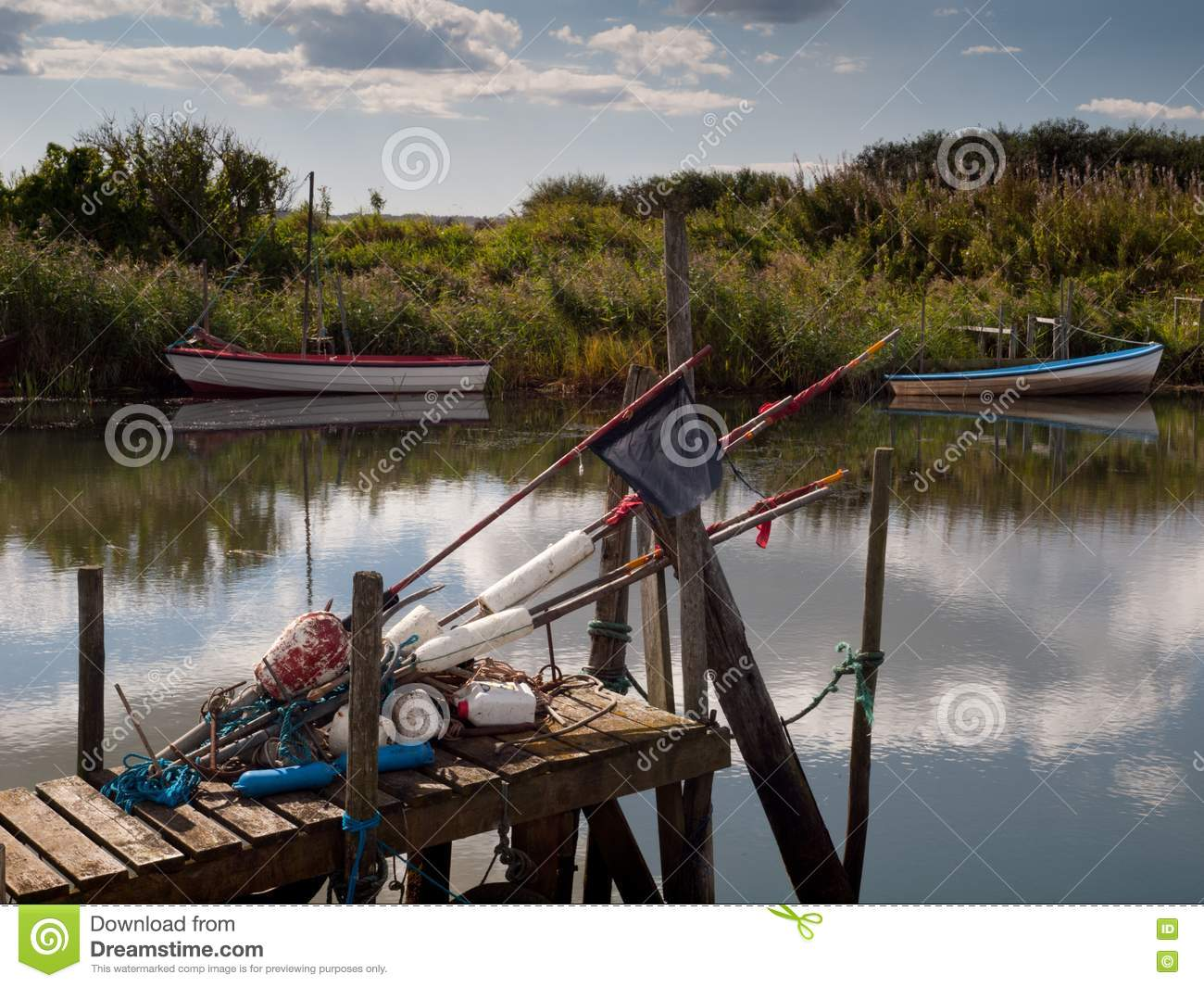 Fishing gear on pier royalty free stock image image for Free fishing stuff