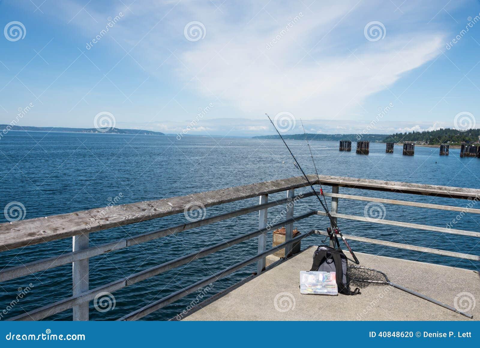 Fishing gear on pier stock photo image 40848620 for Pier fishing net