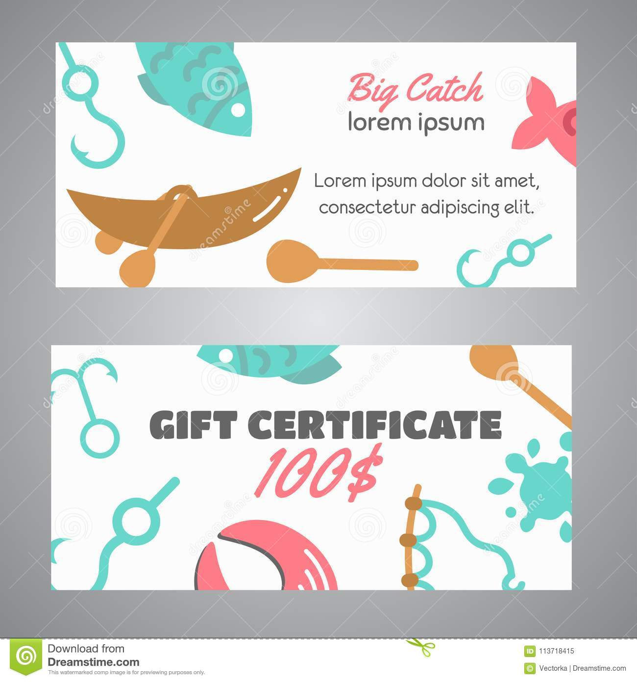 Fishing Gift Certificate. Big Catch Text. Banners With ...