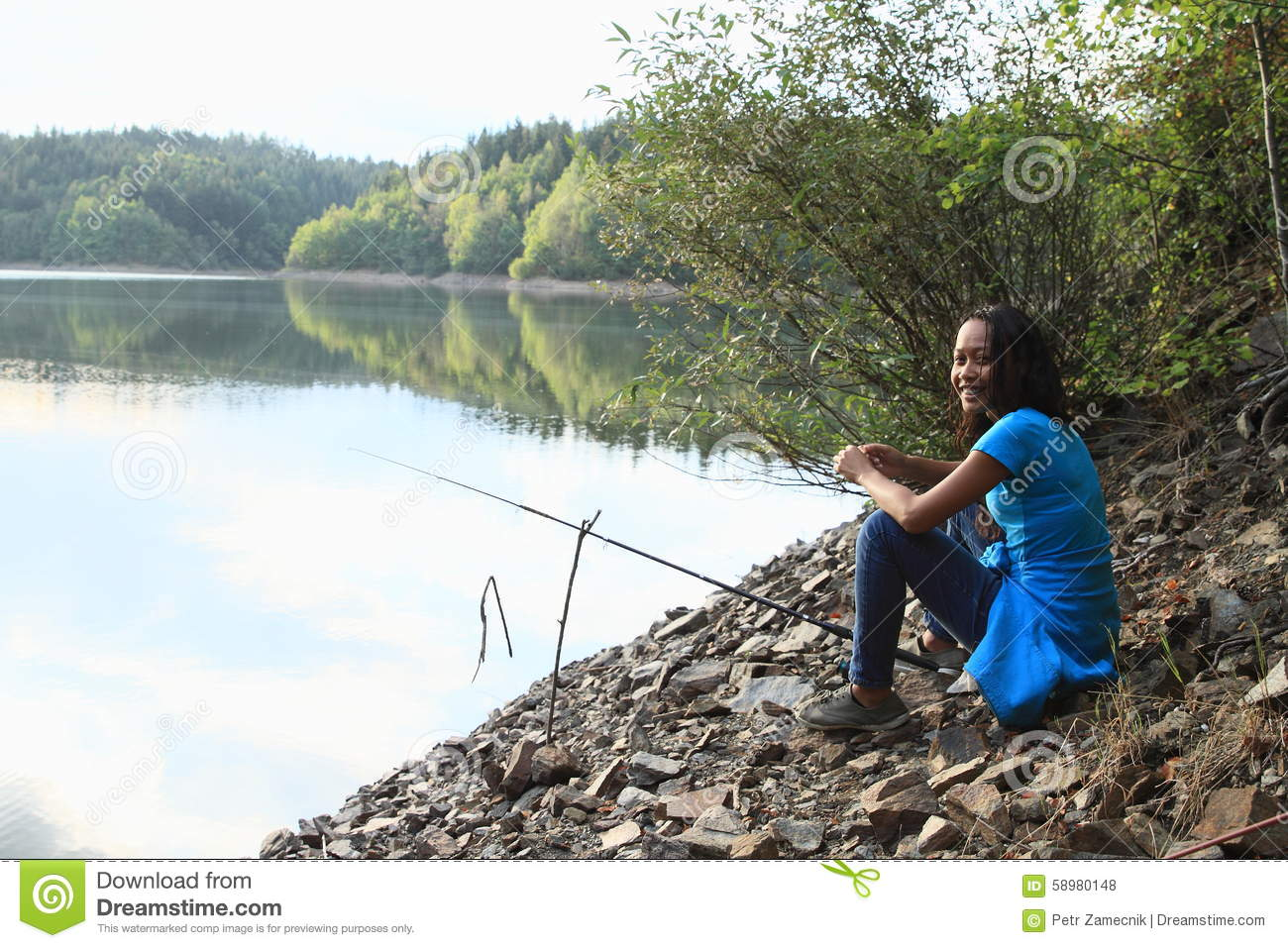Fishing girl stock photo image 58980148 for Girl fishing pole